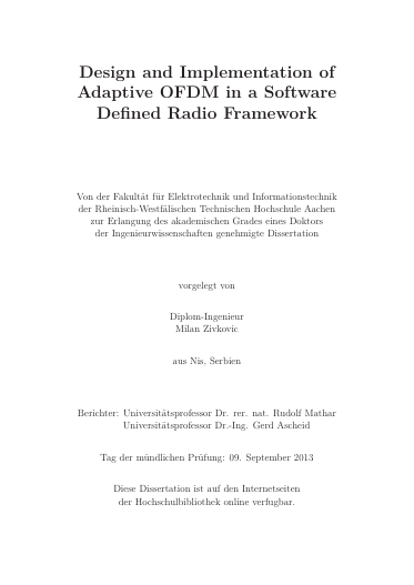 Design and Implementation of Adaptive OFDM in a Software